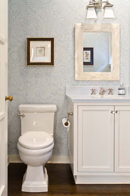 Charmean Neithart Interiors tudor revival traditional powder room