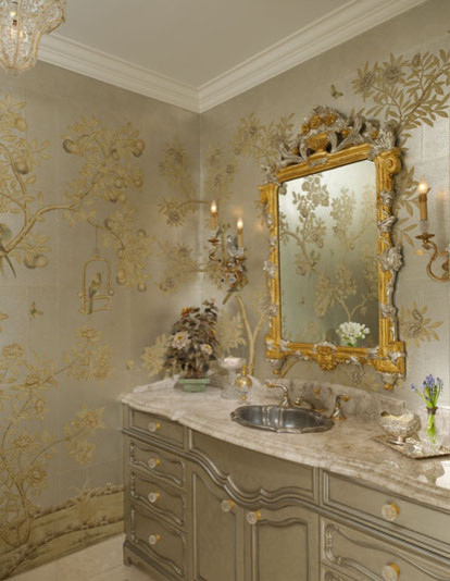 Chinoiserie Chic Traditional Powder Room Dallas By