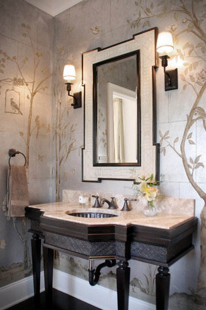 chinoiserie formal powder room traditional powder room