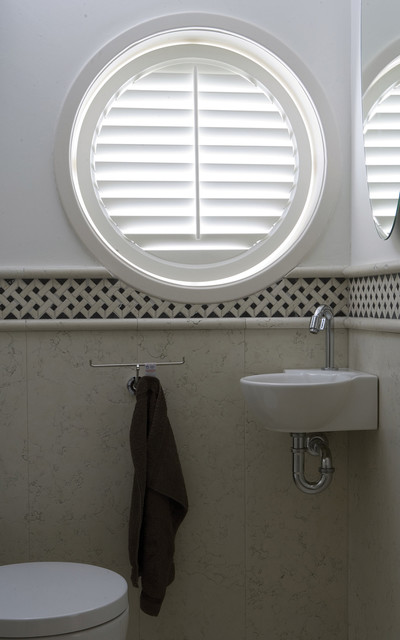 Circle Plantation Shutters Traditional Cloakroom