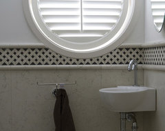 Circle Plantation Shutters traditional-powder-room