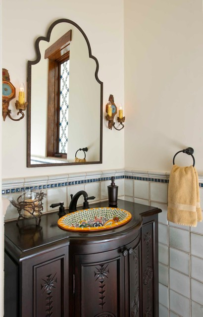 Classically spanish mediterranean powder room dallas for Spanish style bathroom