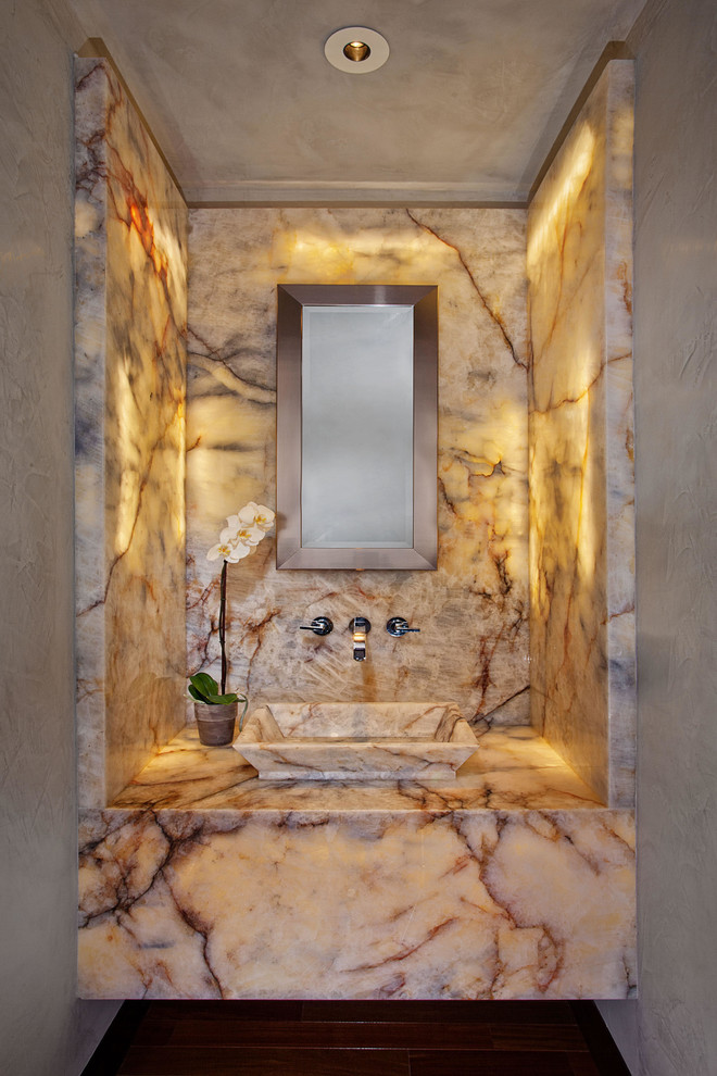 Inspiration for a contemporary powder room remodel in Orange County with a vessel sink and multicolored countertops