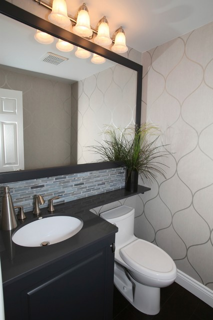 Compact Powder Room Transitional Cloakroom Toronto