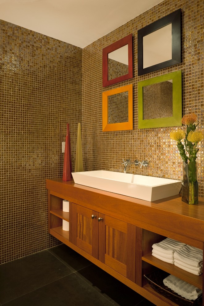 Example of a trendy powder room design in Miami with a trough sink