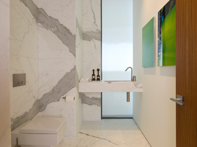 Design ideas for a contemporary cloakroom in San Francisco with white tiles, marble flooring and marble tiles.
