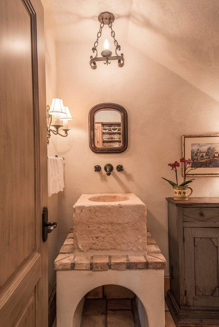Country French Powder Room With Stone Sink Rustic