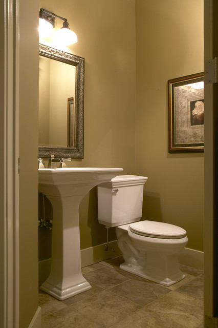 Country walkout traditional powder room calgary by Toilet room design ideas