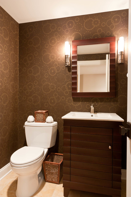 Custom Baseament for the Audiophile, the Oenophile, and the Exercise Enthusiast contemporary-powder-room