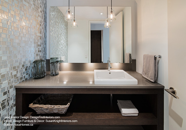 Custom Canal Condo - Contemporary - Powder Room - ottawa - by Design ...