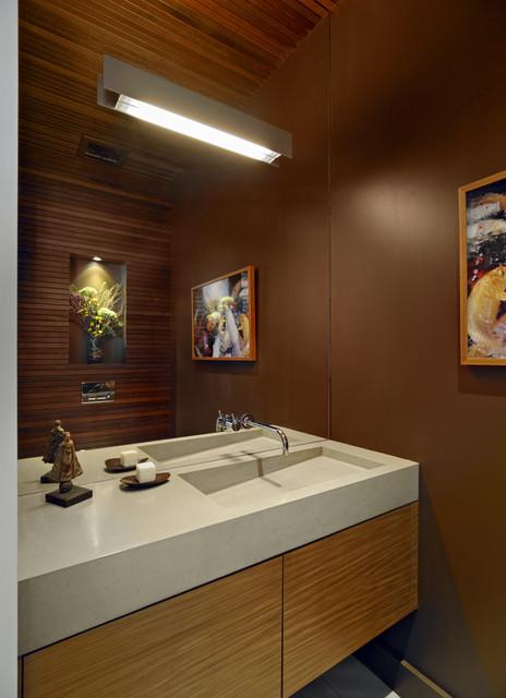 Custom Concrete Sink Modern Powder Room San