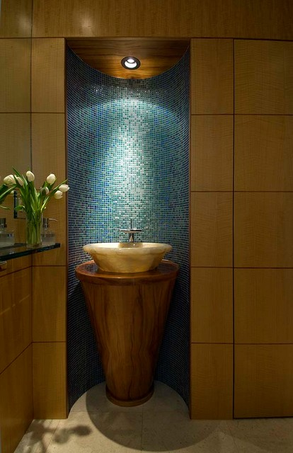 Example of a small trendy blue tile, green tile and mosaic tile ceramic floor and beige floor powder room design in Hawaii with flat-panel cabinets, medium tone wood cabinets, brown walls, a vessel sink, wood countertops and brown countertops
