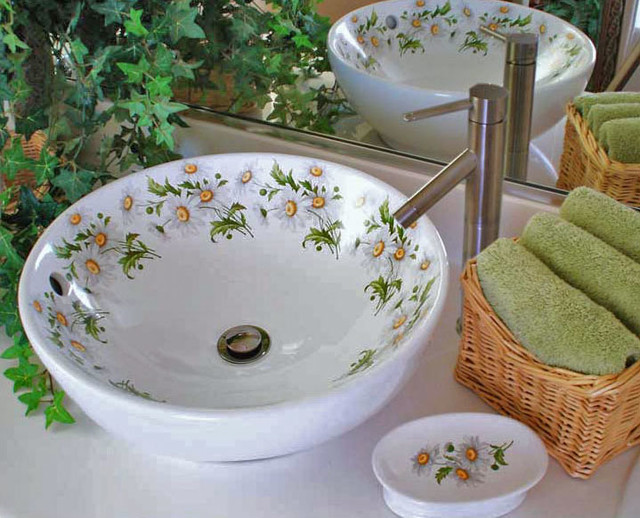 Daisy Painted Vessel Sink traditional-powder-room