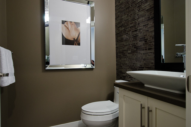 Devon place contemporary powder room vancouver by positive space staging design inc for Capital home staging and design