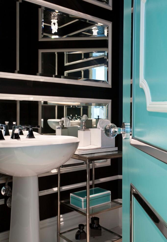 Powder room - eclectic powder room idea in Miami