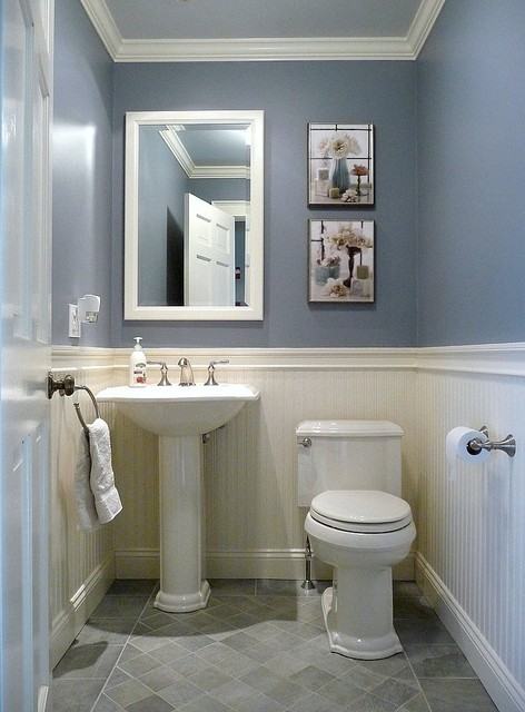 Dunstable victorian bathroom traditional powder room - Bathroom remodel ideas with wainscoting ...