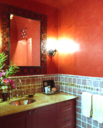 East Meets West In Classic Family Apartment traditional-powder-room