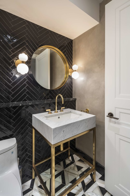 Powder room with luxe finishes