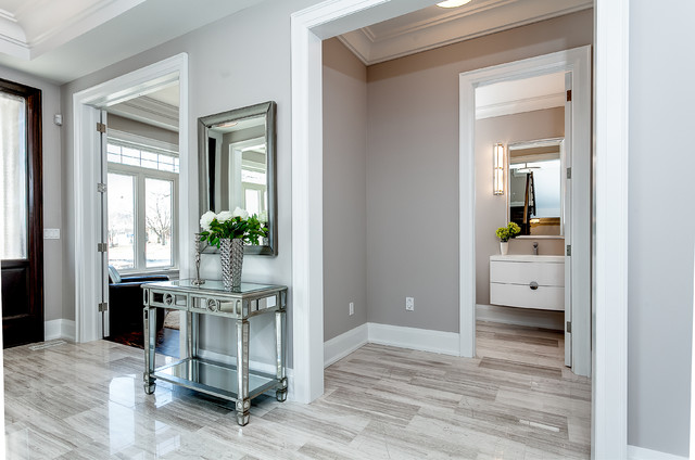 Inspiration for a transitional powder room remodel in Toronto