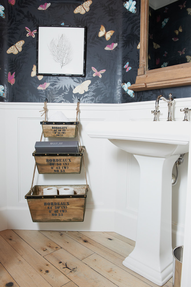 Powder room - eclectic powder room idea in San Diego with a pedestal sink