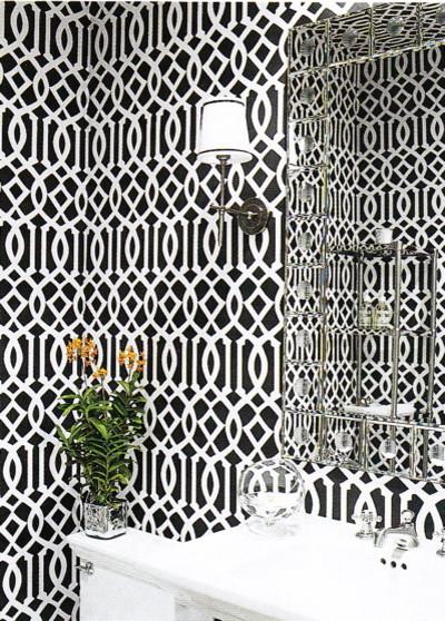 black imperial trellis eclectic-powder-room
