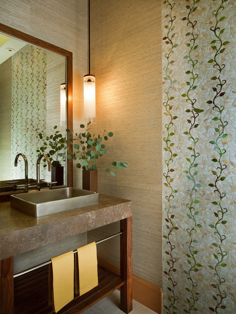 Eclectic mosaic tile powder room photo in San Francisco with a vessel sink