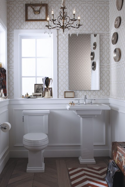 Eclectic Preppy Powder Room eclectic powder room