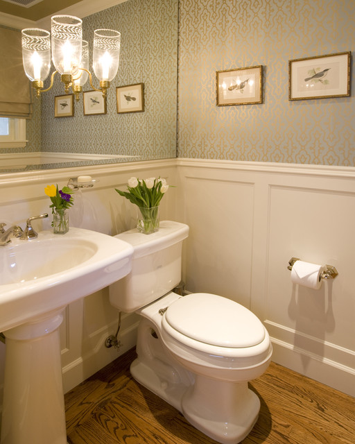 Luxurious wallpaper houzz - Elegant Powder Bath Traditional Powder Room San