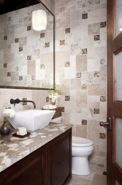 Elegant Stone Powder Modern Powder Room Austin By