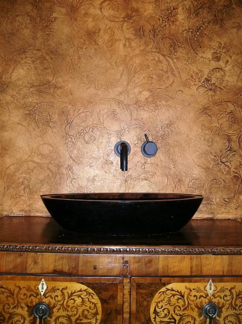Embossed Leather Plaster Mediterranean Powder Room