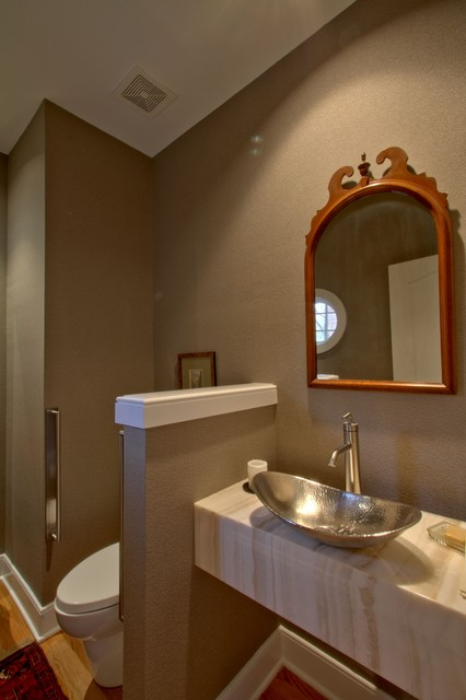Entry Hall Powder Room With Onyx Vanity Transitional