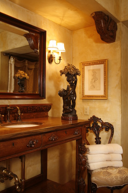 European Farmhouse In Edina mediterranean-powder-room