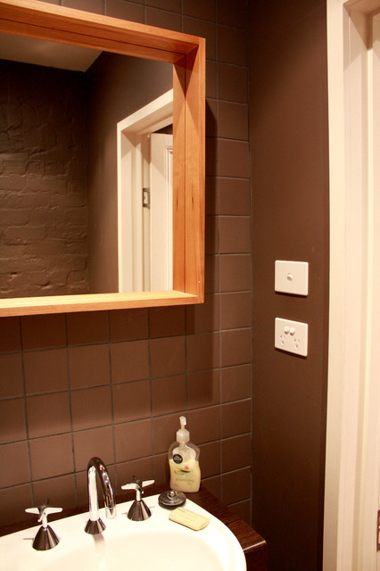 Falconer St Residence transitional-powder-room
