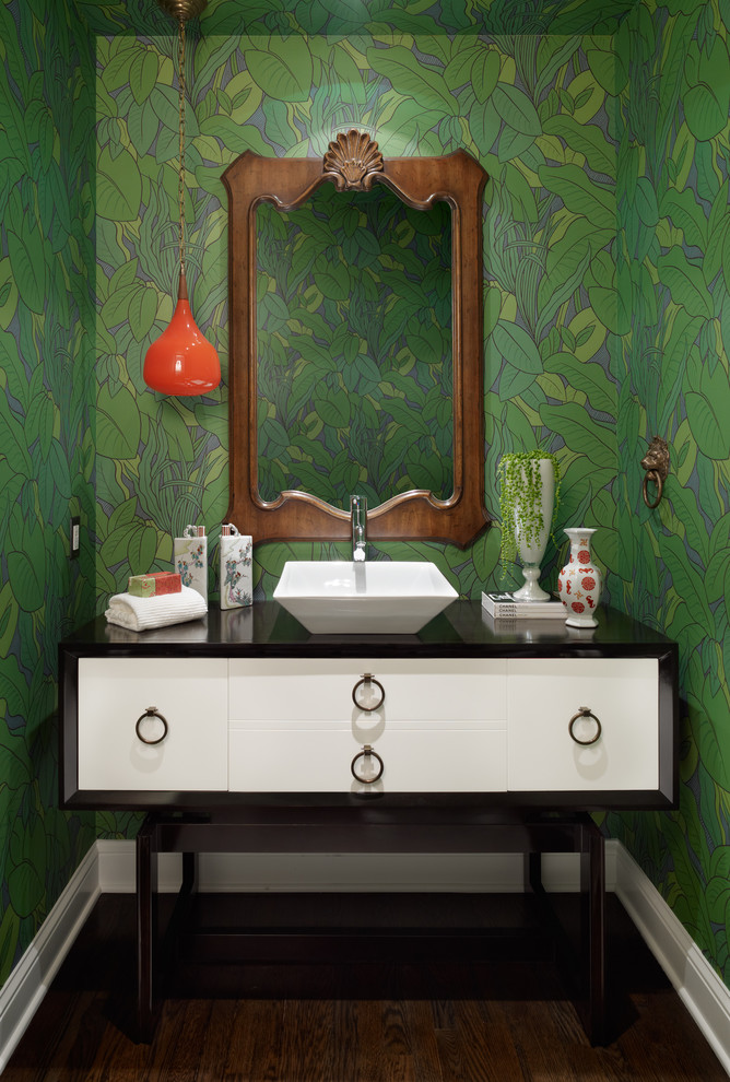 Example of a trendy powder room design in Orange County with a vessel sink, furniture-like cabinets and white cabinets