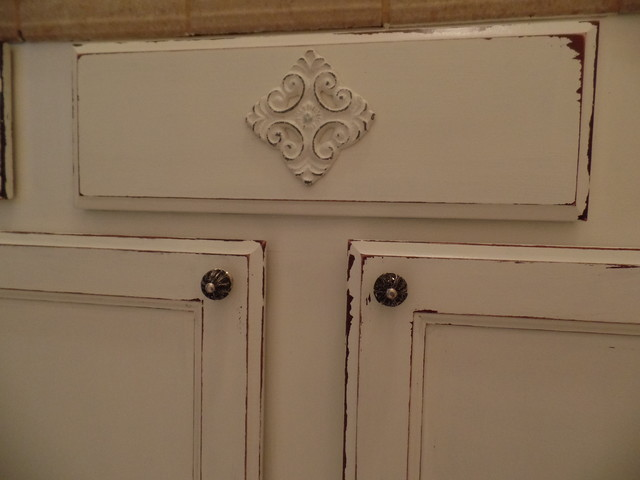 faux finish distressed cabinets rustic powder room new orleans