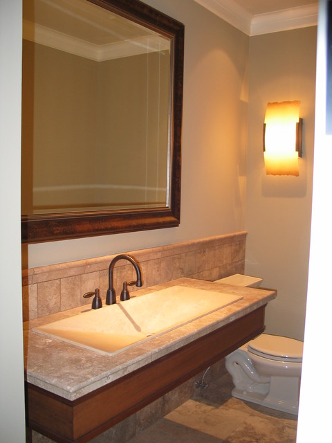 Floating Marble Powder Room Sink Contemporary Powder Room Seattle By Robert Egge