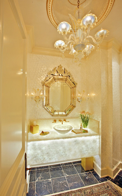 Formal Opulent Powder Room Eclectic Powder Room