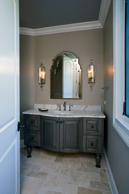 Formal Powder Room With Grey Stained Furniture Style Vanity