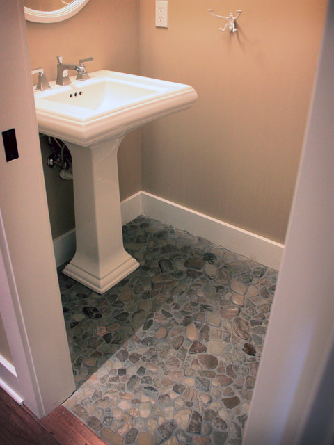 Found Beach Rock Floor Powder Room