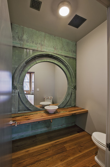 Jane kim design industrial powder room by jane kim design - Idee deco wc geschorst ...