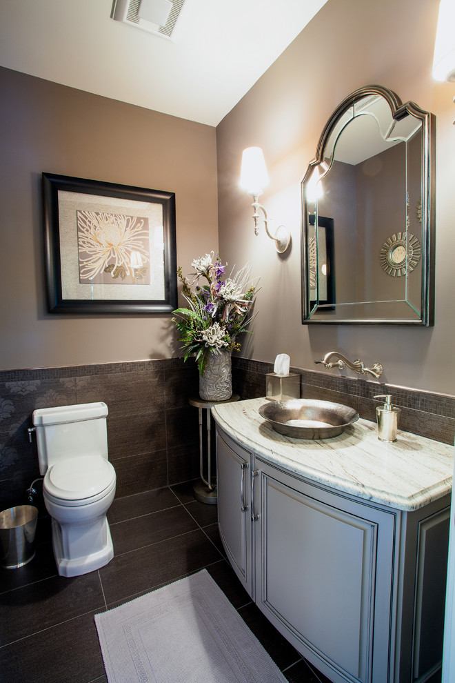 French country powder room photo in Detroit
