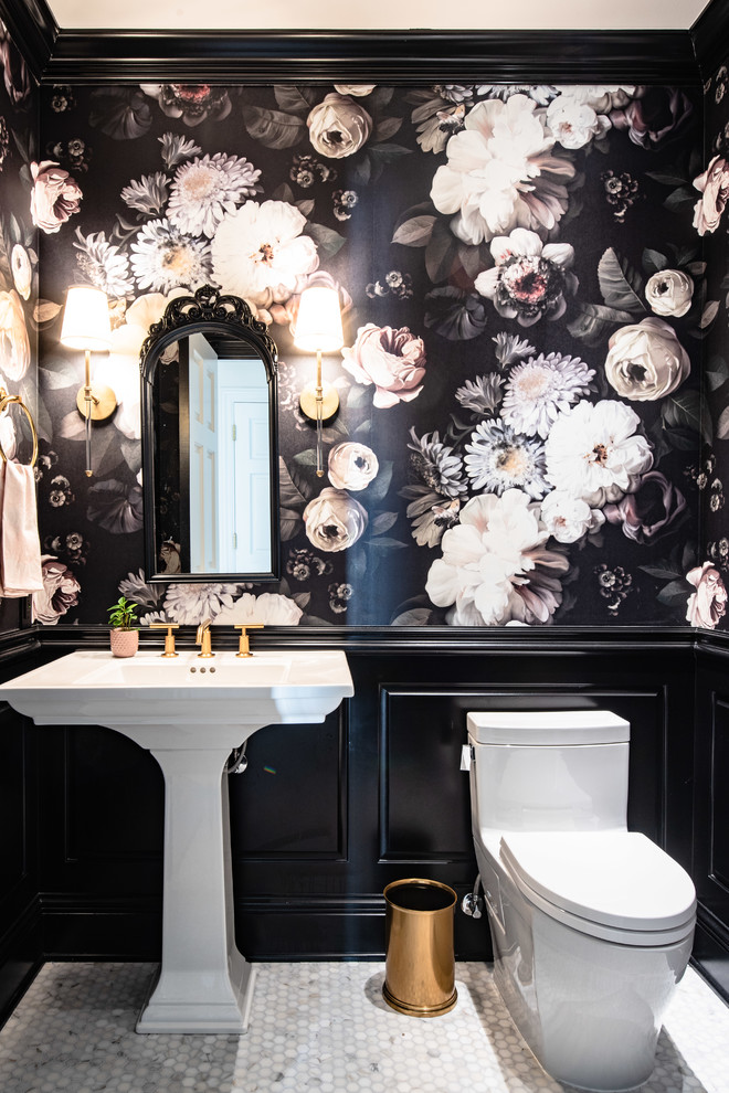 Powder room - small transitional marble floor and white floor powder room idea in Denver with a one-piece toilet, black walls and a pedestal sink