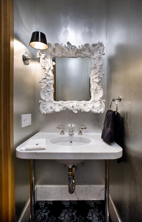Transitional Style Bathroom in Silver
