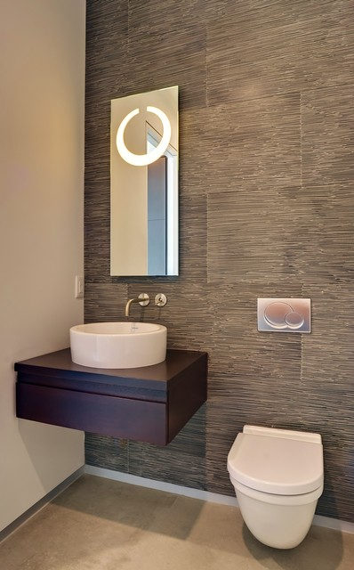 Glass houzz contemporary powder room