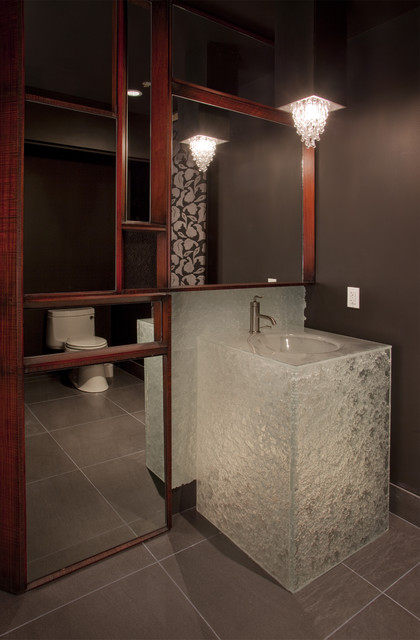 Glass powder room vanity in escala penthouse for Powder bathroom vanities