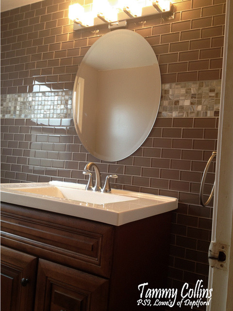 Glass Tile Powder Room Traditional Powder Room Other