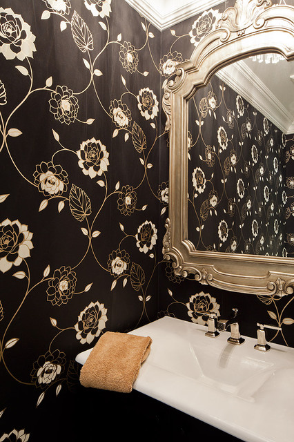 Trendy powder room photo in Toronto with a pedestal sink