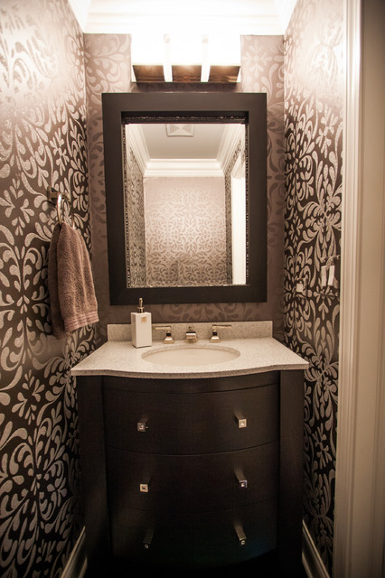 Glitzy powder room contemporary powder room chicago for Bathroom remodeling stores chicago