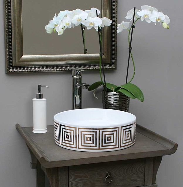 Gold big squares hand painted sink in gray bathroom - Powder room sink ideas ...