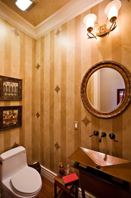 Gold Powder Room With Metal Pedestal Sink Eclectic
